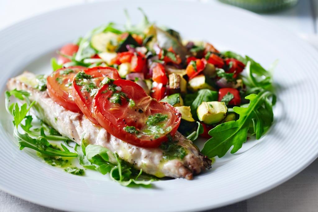 Baked mackerel with garlic pesto recipe healthy for Mackerel fish recipe
