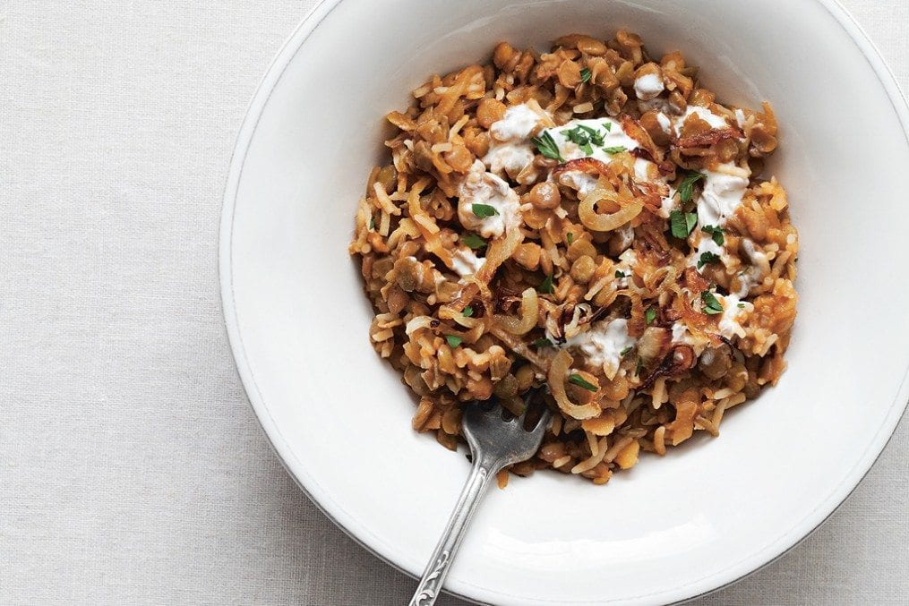 Rice with Lentils and Crispy Onions