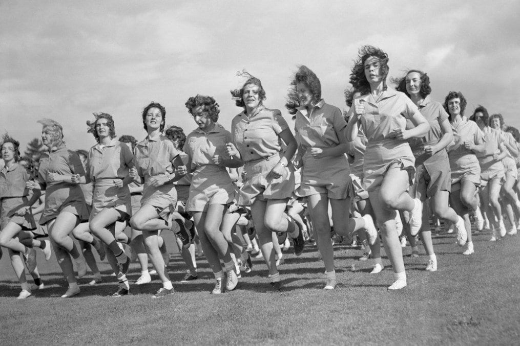 Women jogging in boot camp