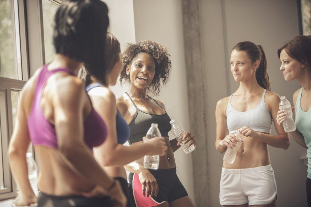 Women talking after a workout