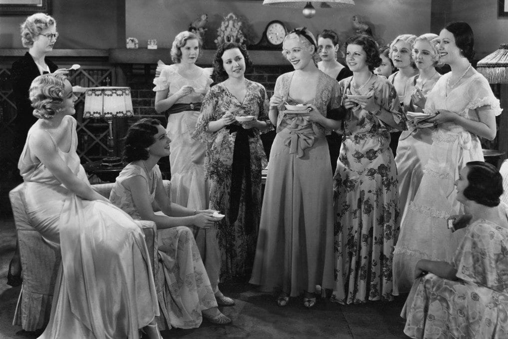 Ladies chatting at a dinner party