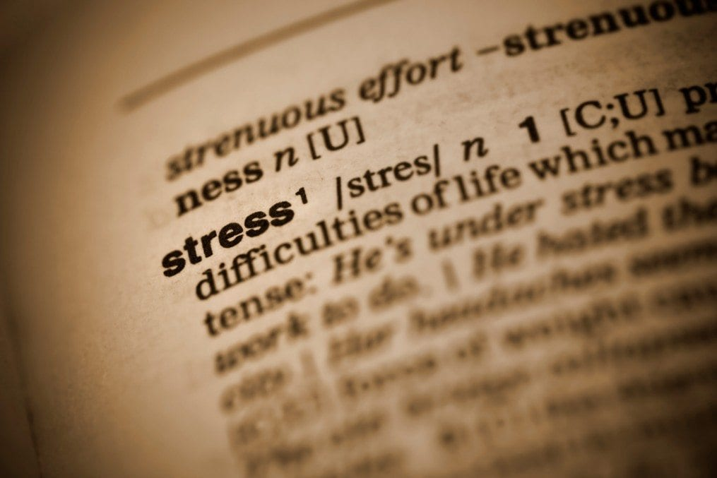 Dictionary opened on stress