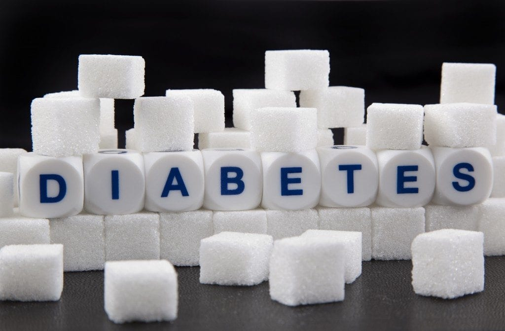 Cubes of sugar with diabetes written on them