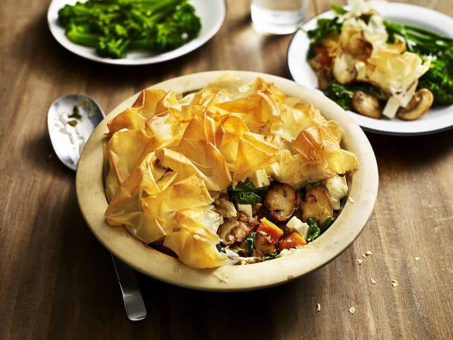 This comforting vegetarian mushroom, sweet potato and kale pie is a ...