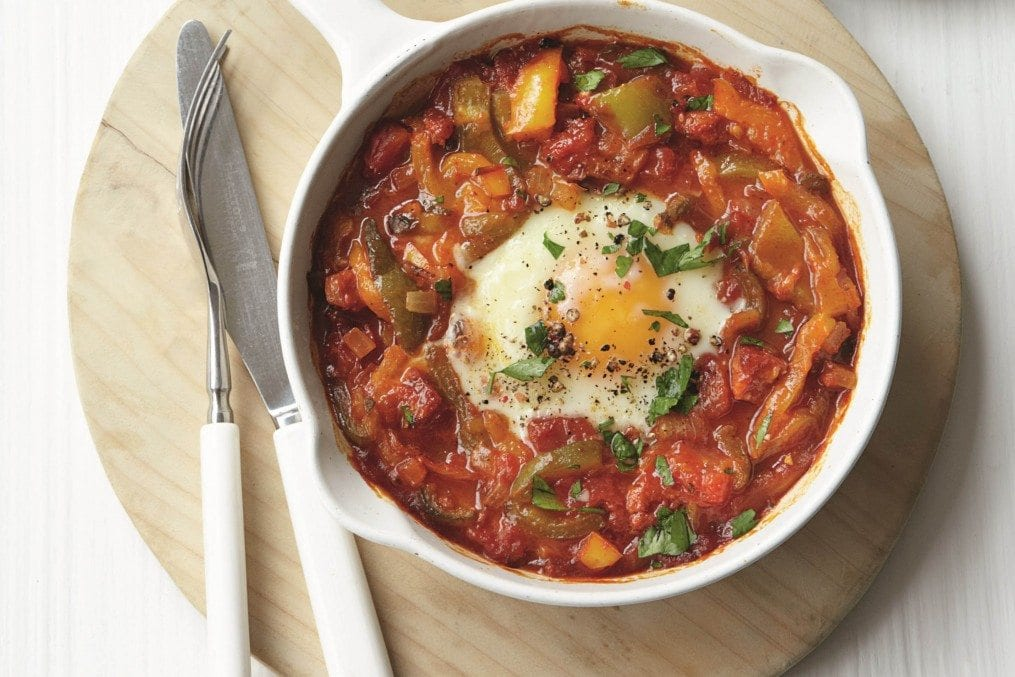 Baked eggs with chorizo