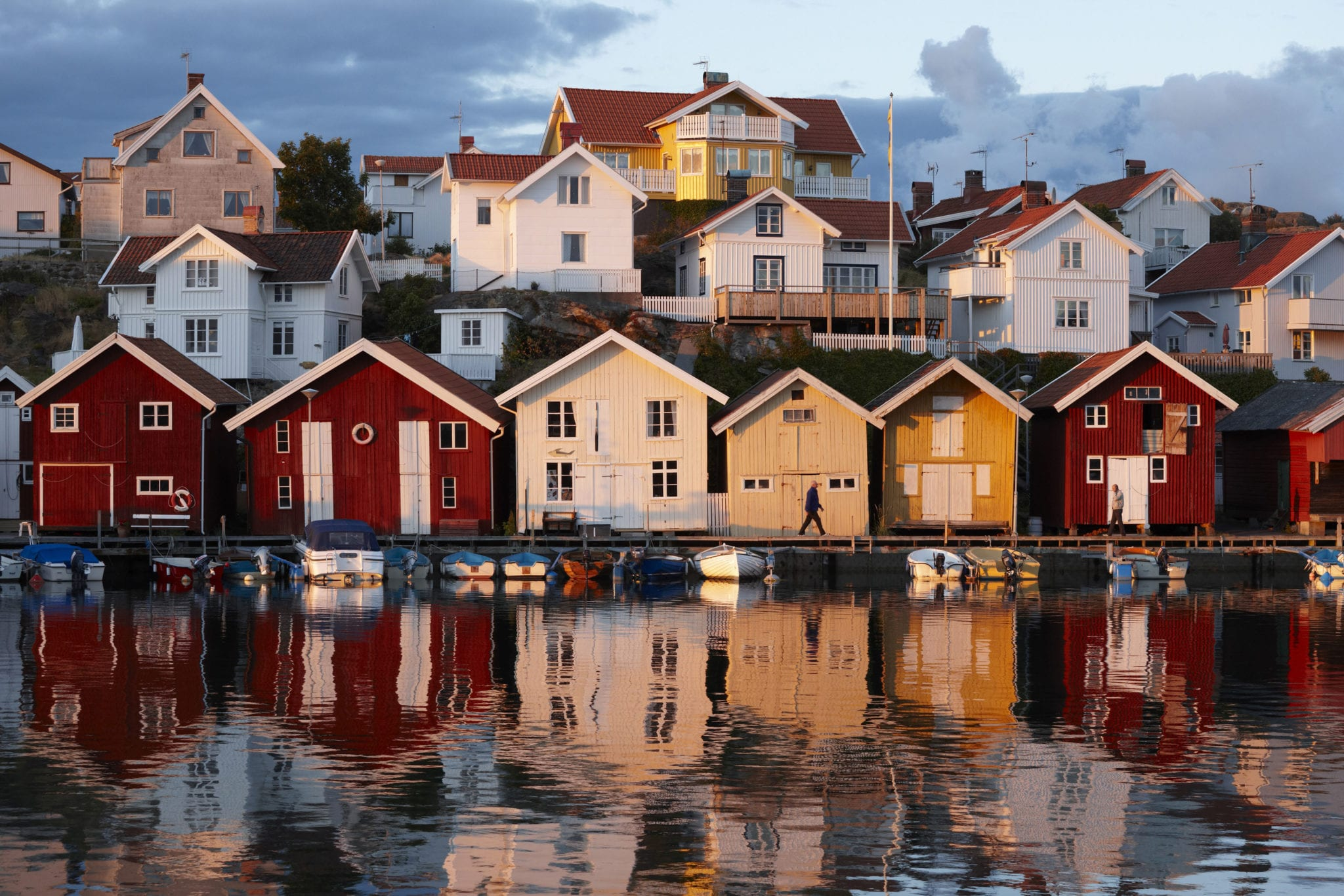Houses by the sea at sunset, Sweden.