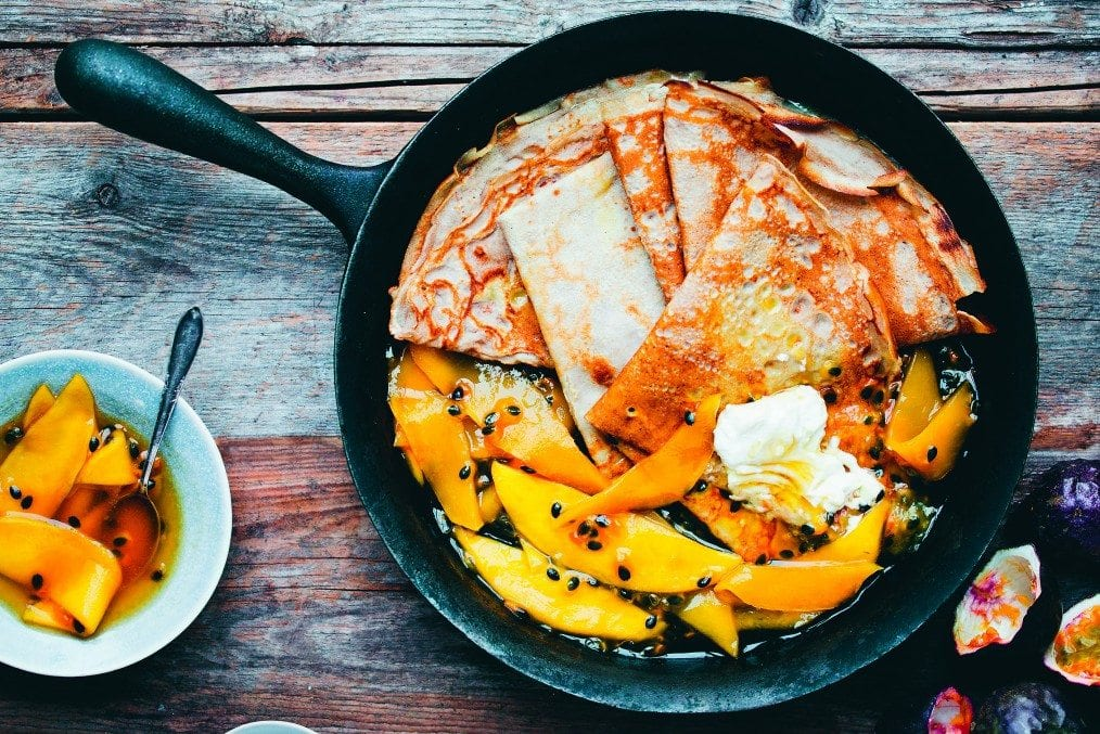 Passion mango crepes