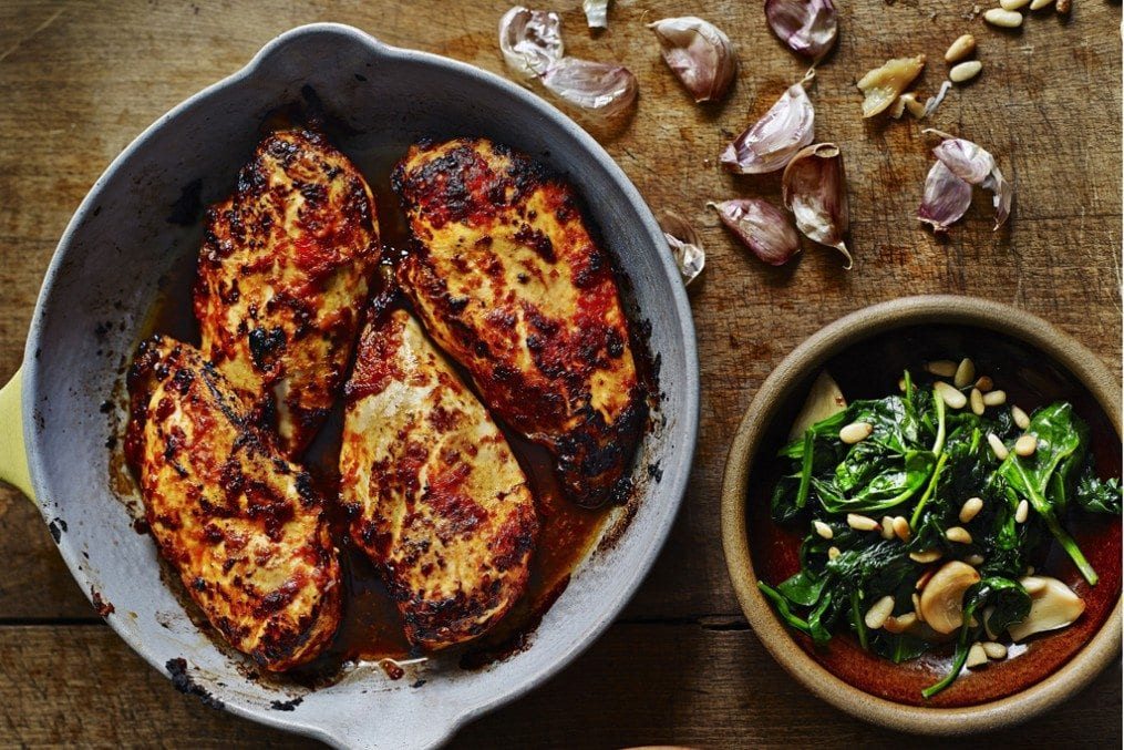 Portuguese chicken with spinach