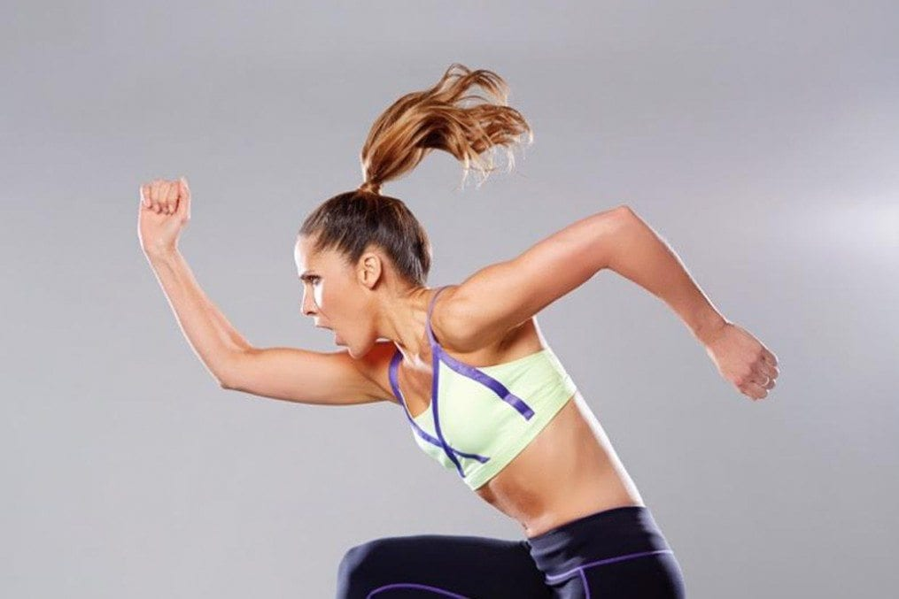 Amanda Byram in mid run