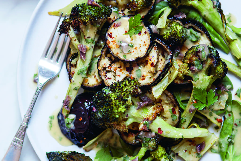 aubergine and broccoli salad