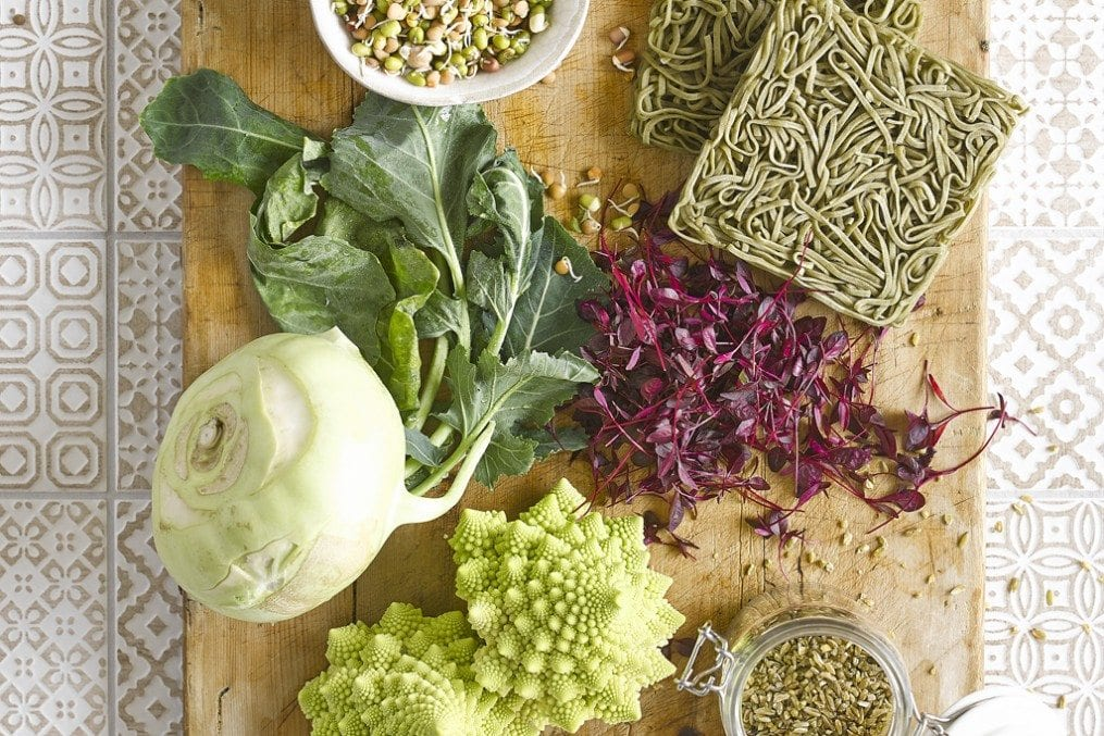 raw vegetables and noodles