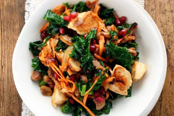 Turkey Stir-Fry with Chestnuts and Pomegranate