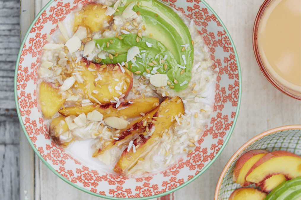 Peach and avocado porridge