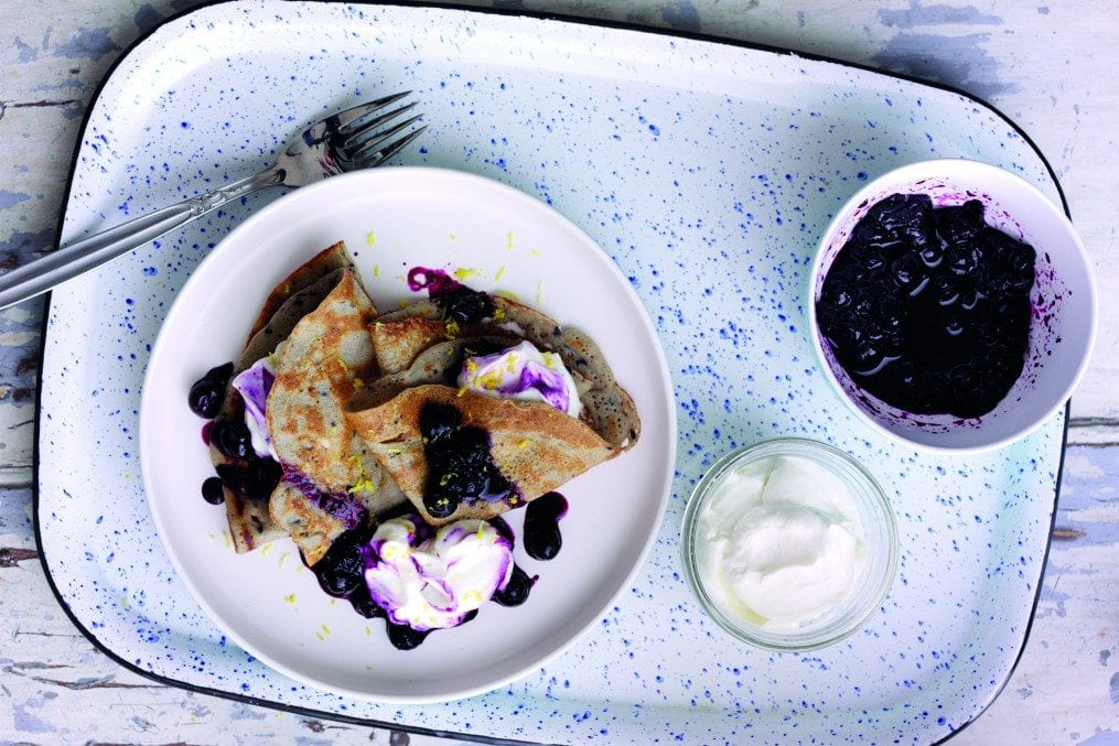 Blueberry Buckwheat Crepes with Greek yoghurt and Blueberry Lemon compote 2