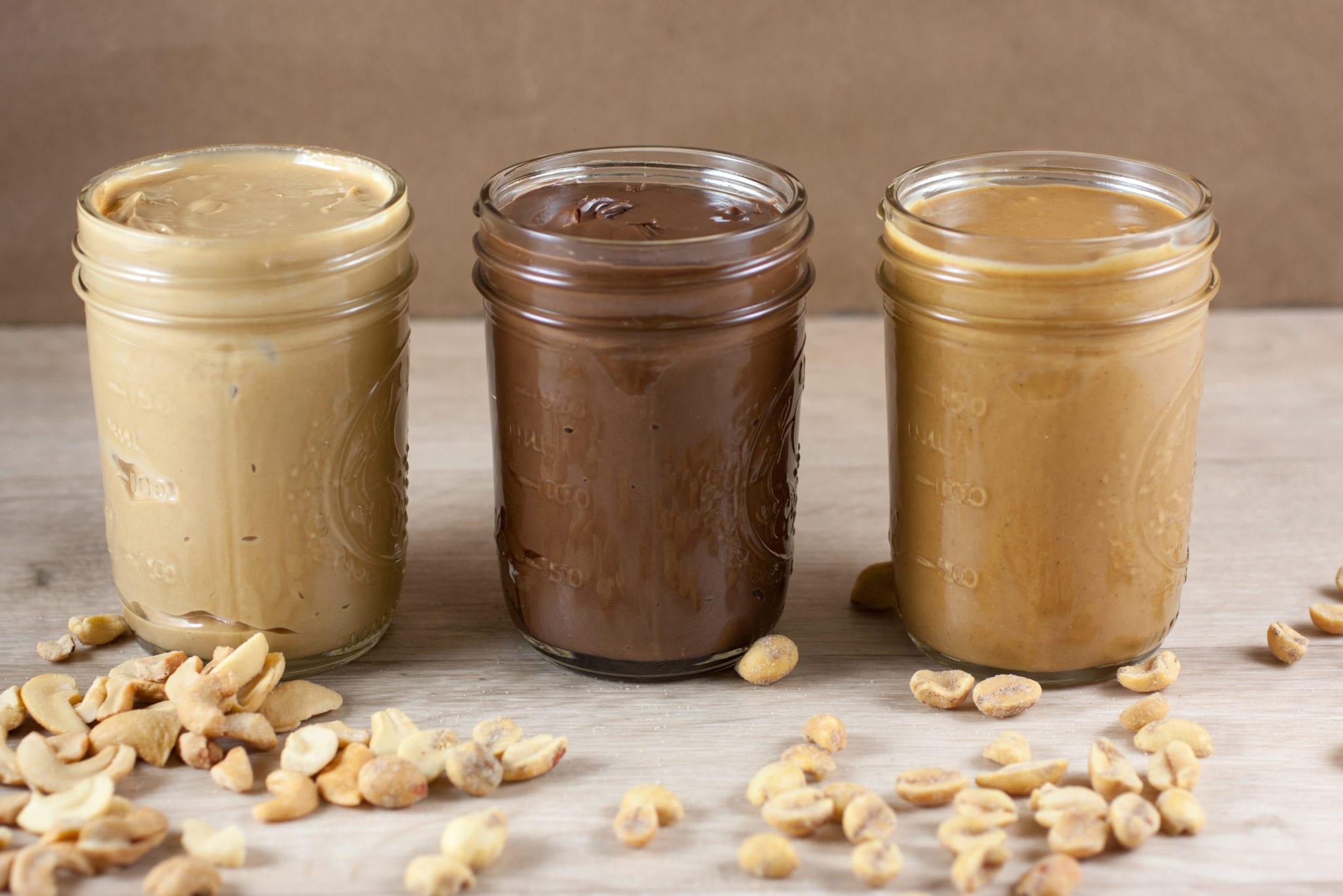 three jars of nut butter