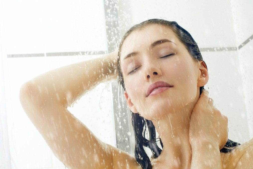 woman having shower