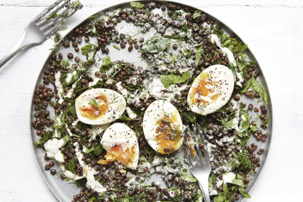 Creamy Tahini Lentils With Drippy Boiled Eggs