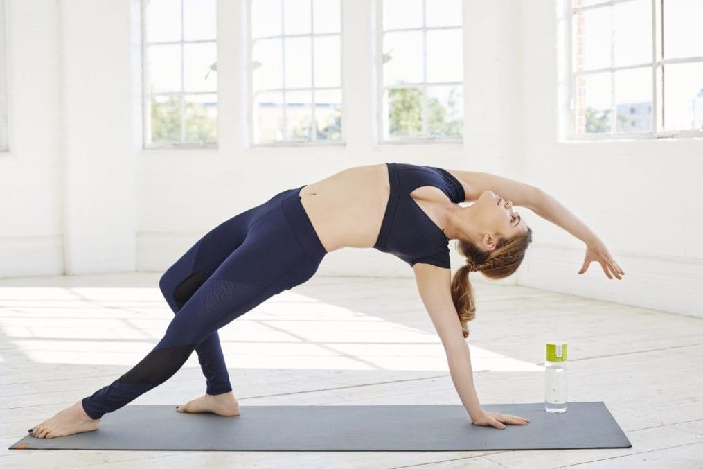 Madeleine Shaw doing yoga