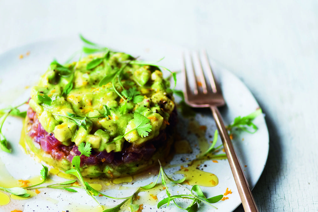 Tuna Carpaccio with Avocado and Orange Dressing