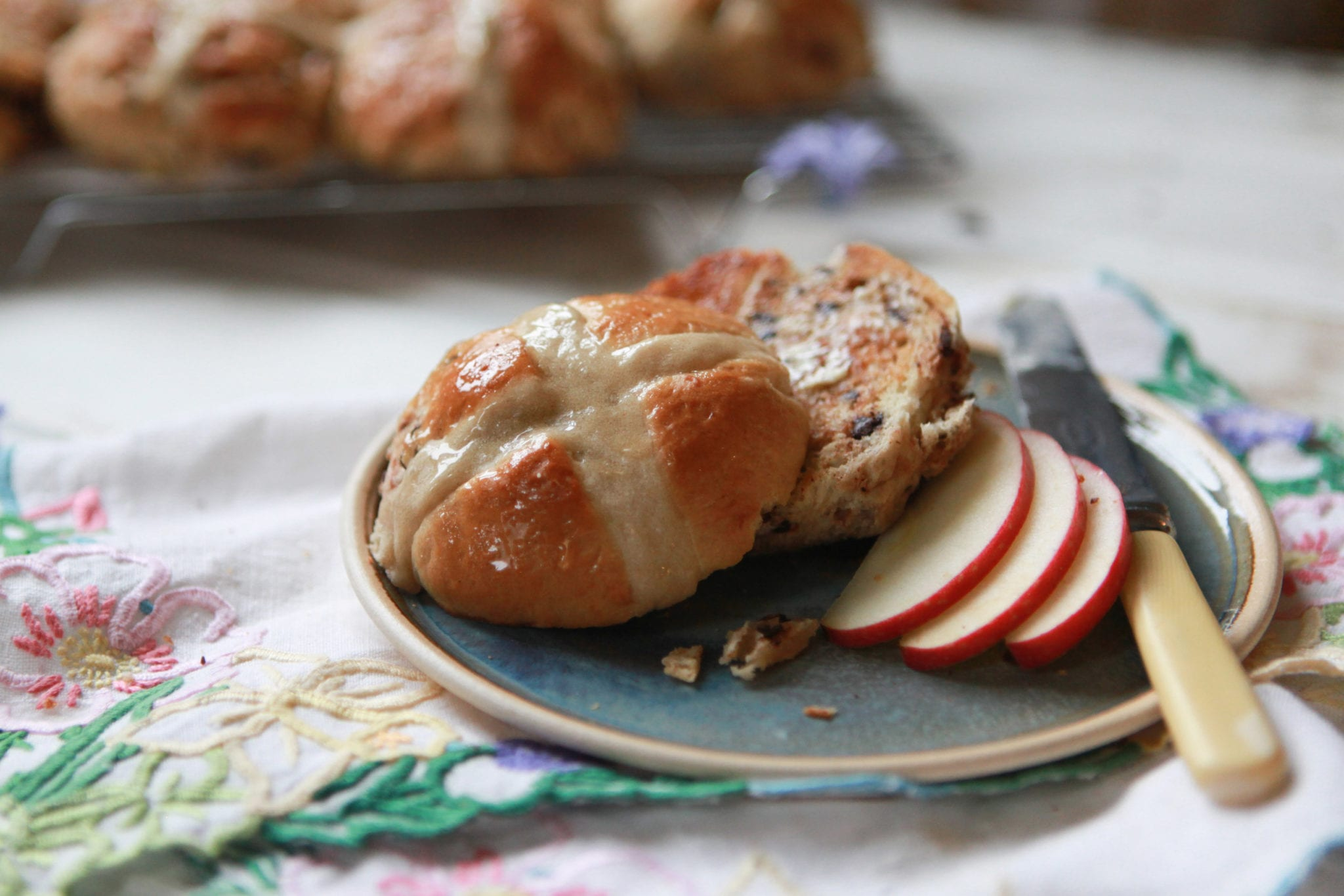 Pink lady hot cross buns