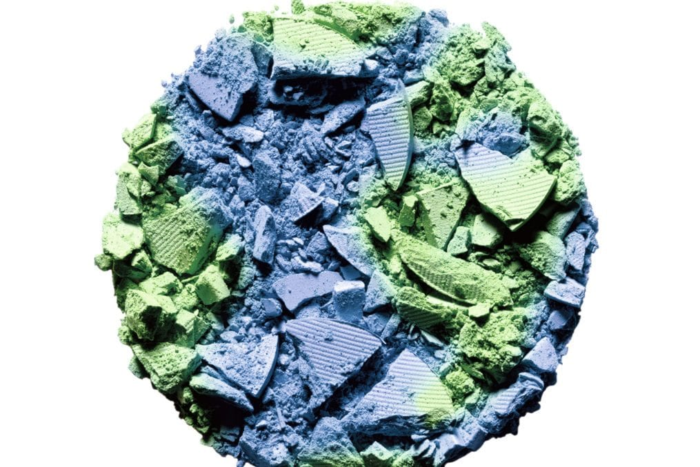 Blue and green powdered makeup