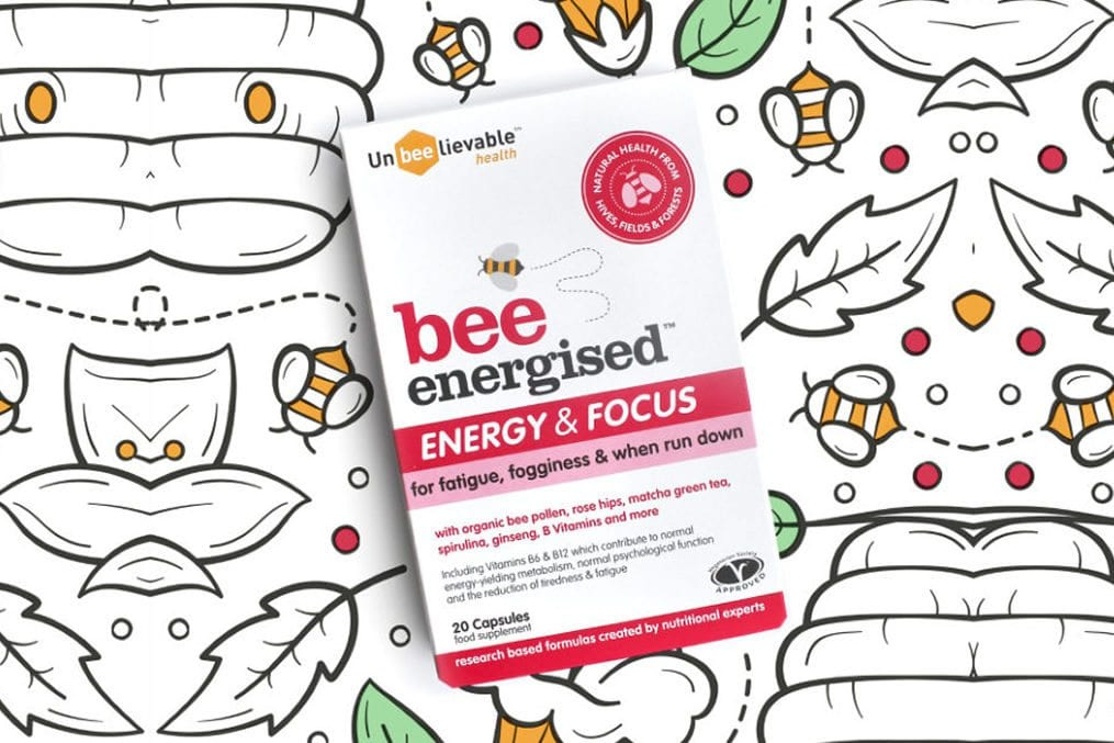 Bee Energised is formulated by nutritionists and combines organic bee pollen, matcha, spirulina,