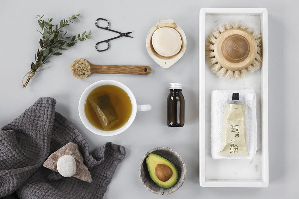 self care items including tea and bathing products