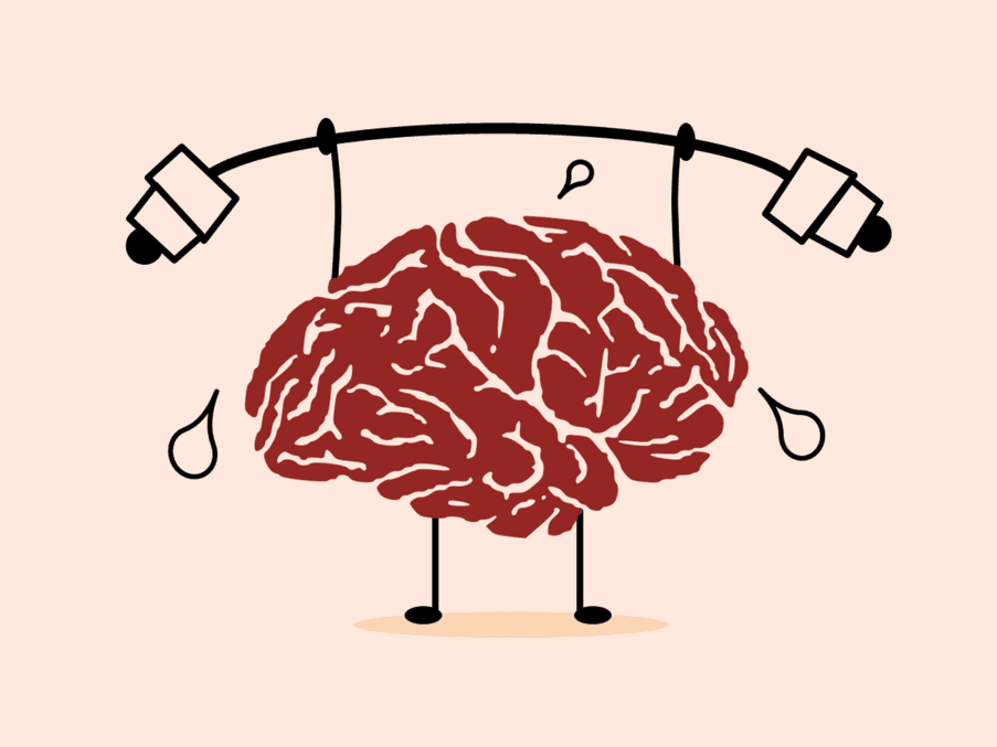 graphic of brain lifting weights, training