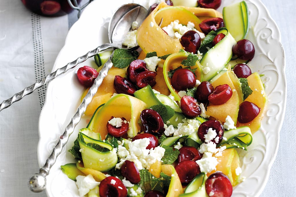 Pickled cherry and feta summer salad