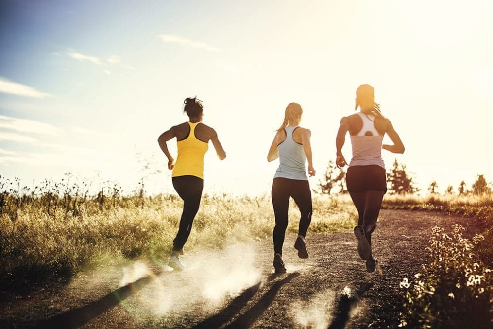 mental health - three women jogging