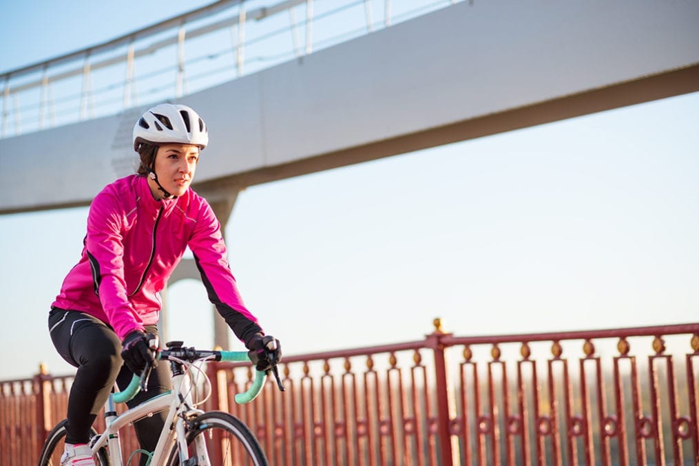 Woman winter cycling