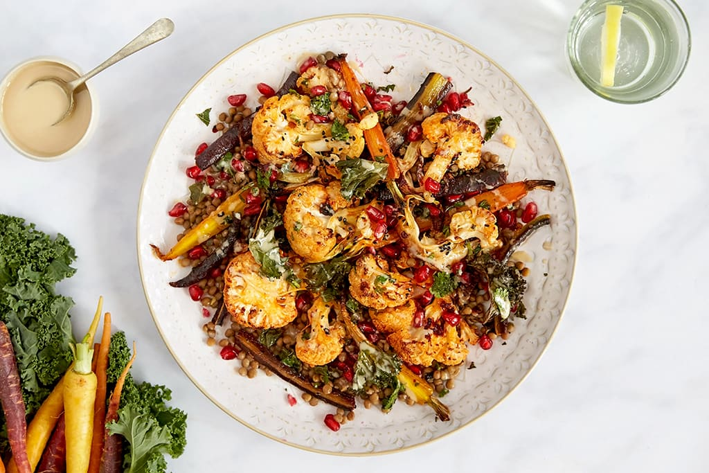 Harissa cauliflower, herby lentils and tahini