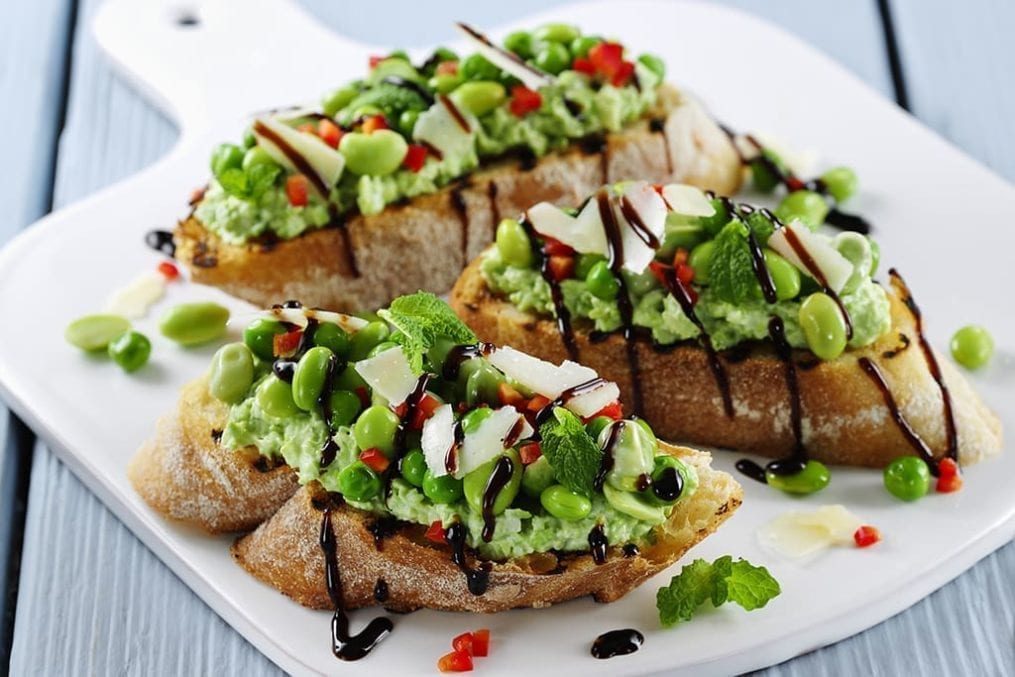 pea and bean bruschetta