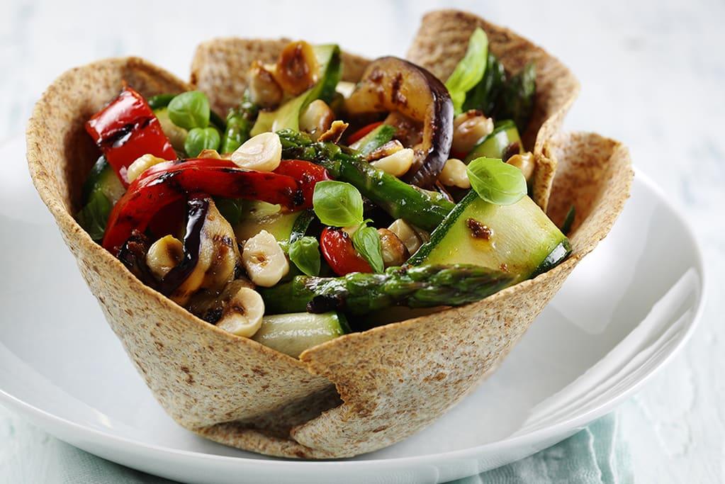 Fibre February: marinated Italian ribbon salad in tortilla baskets