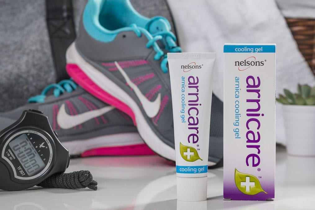 Gym setting showing Nelsons Arnicare arnica soothing gel for tired muscles