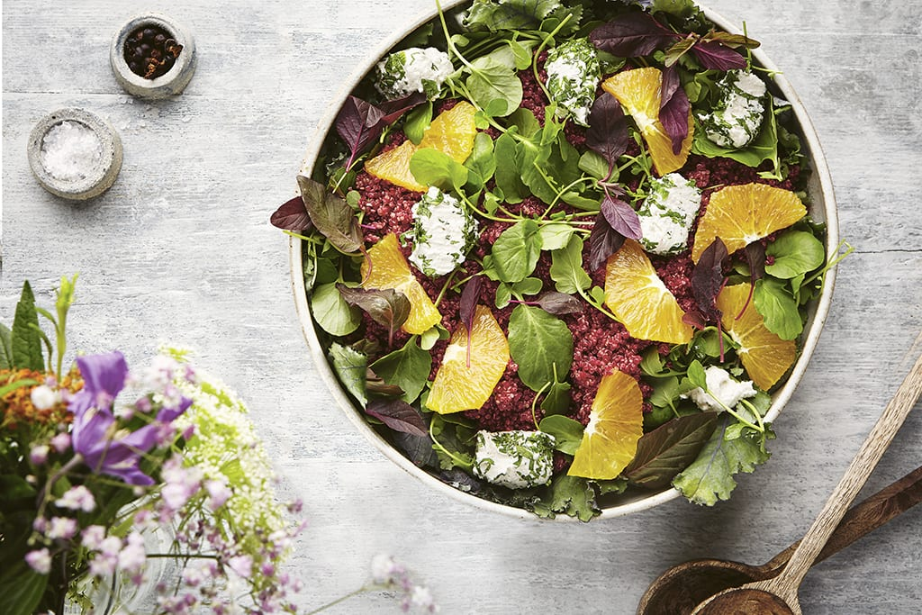 Beetroot quinoa and macadamia ricotta salad with orange dressing