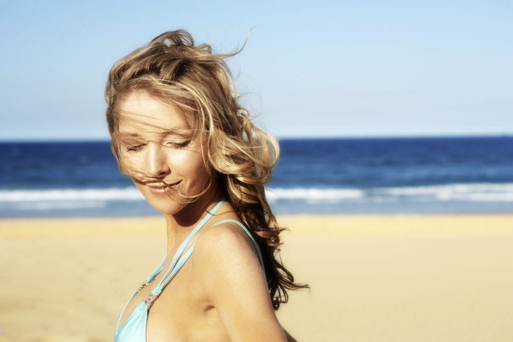 woman on beach with great hair