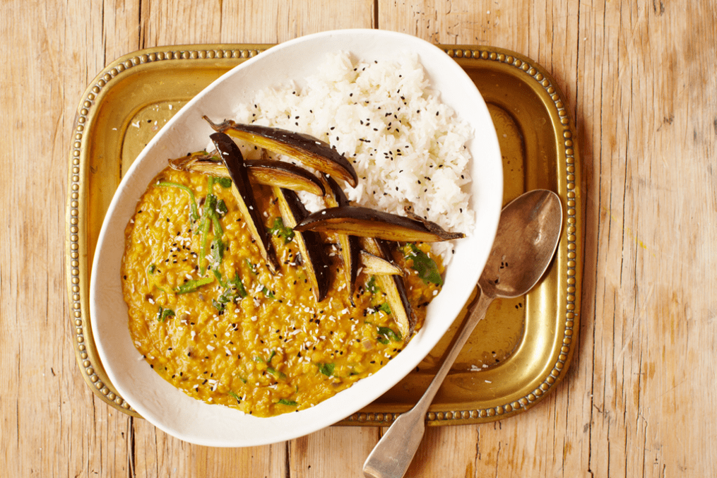 Aubergine daal with coconut topping