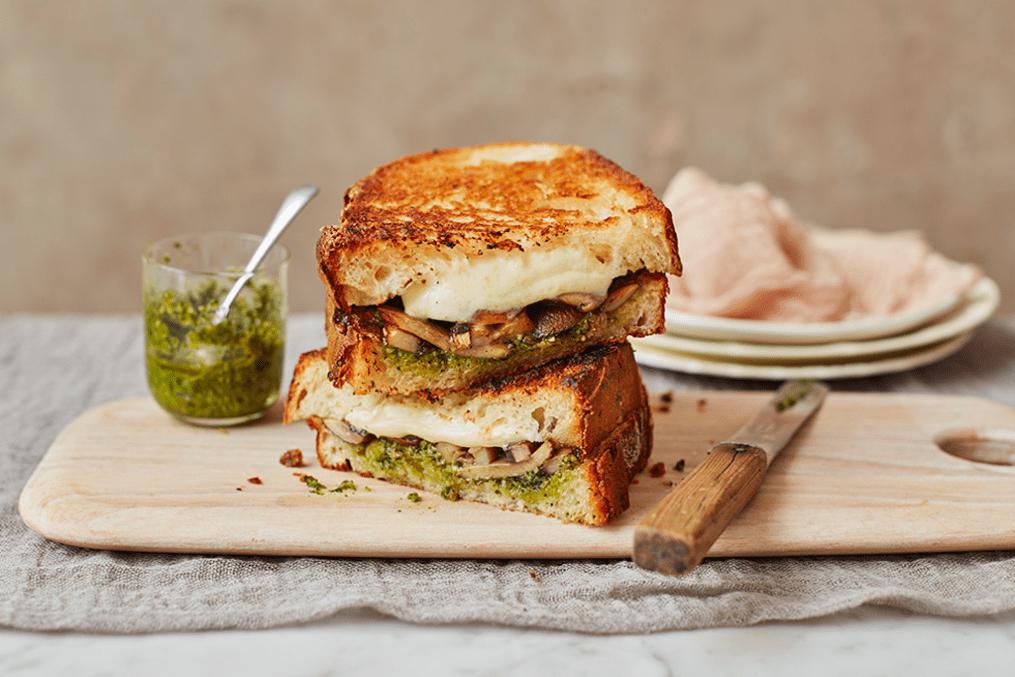 Mozzarella, mushroom and pesto sourdough toasties