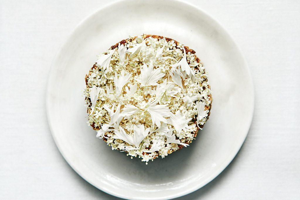 Elderflower and white chocolate torte
